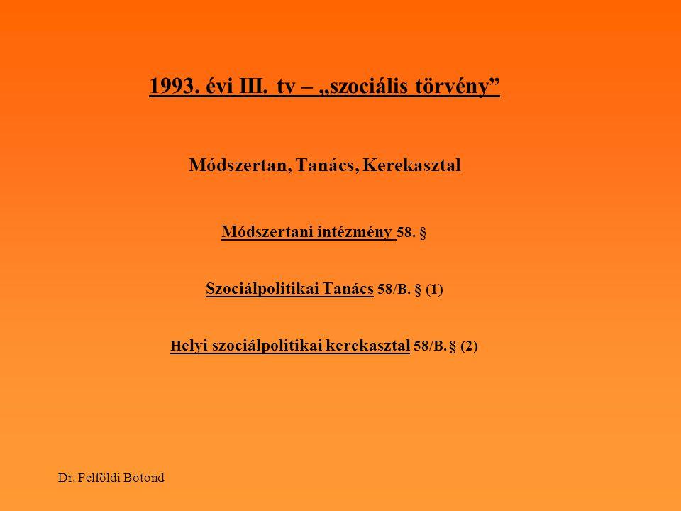 """1993. évi III. tv – """"szociális törvény Módszertan, Tanács, Kerekasztal Módszertani intézmény 58. § Szociálpolitikai Tanács 58/B. § (1) Helyi szociálpolitikai kerekasztal 58/B. § (2)"""