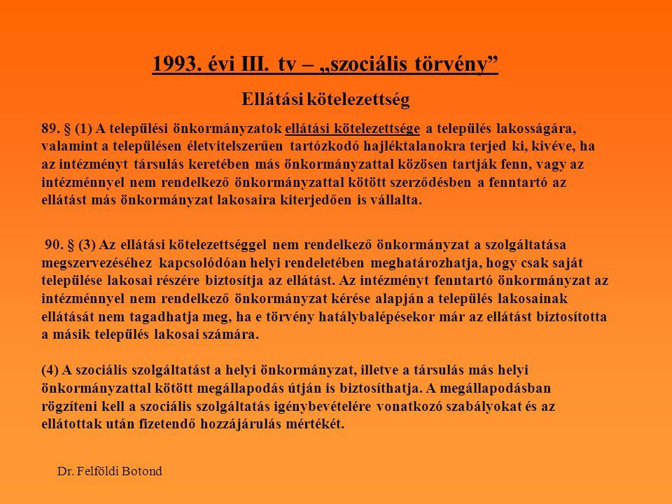 """1993. évi III. tv – """"szociális törvény Ellátási kötelezettség"""