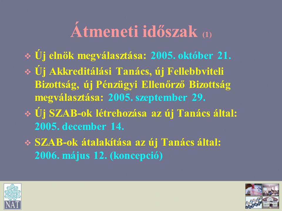 Átmeneti időszak (1) Új elnök megválasztása: 2005. október 21.