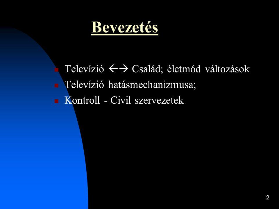 Bevezetés Televízió  Család; életmód változások