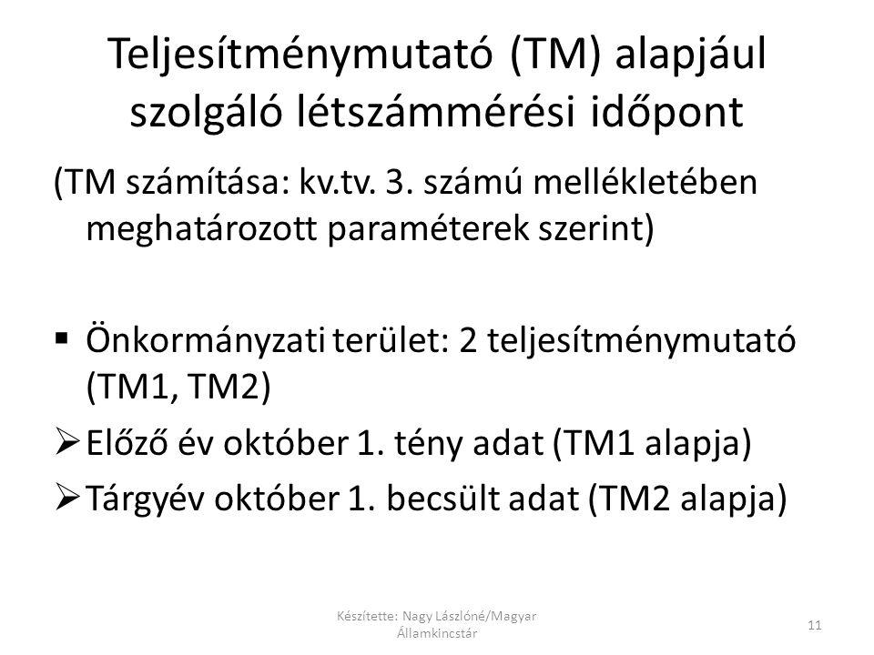 Teljesítménymutató (TM) alapjául szolgáló létszámmérési időpont