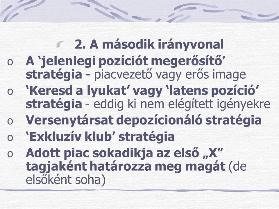 2. A második irányvonal A 'jelenlegi pozíciót megerősítő' stratégia - piacvezető vagy erős image.