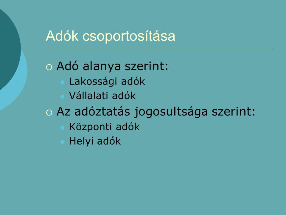 Adók csoportosítása Adó alanya szerint: