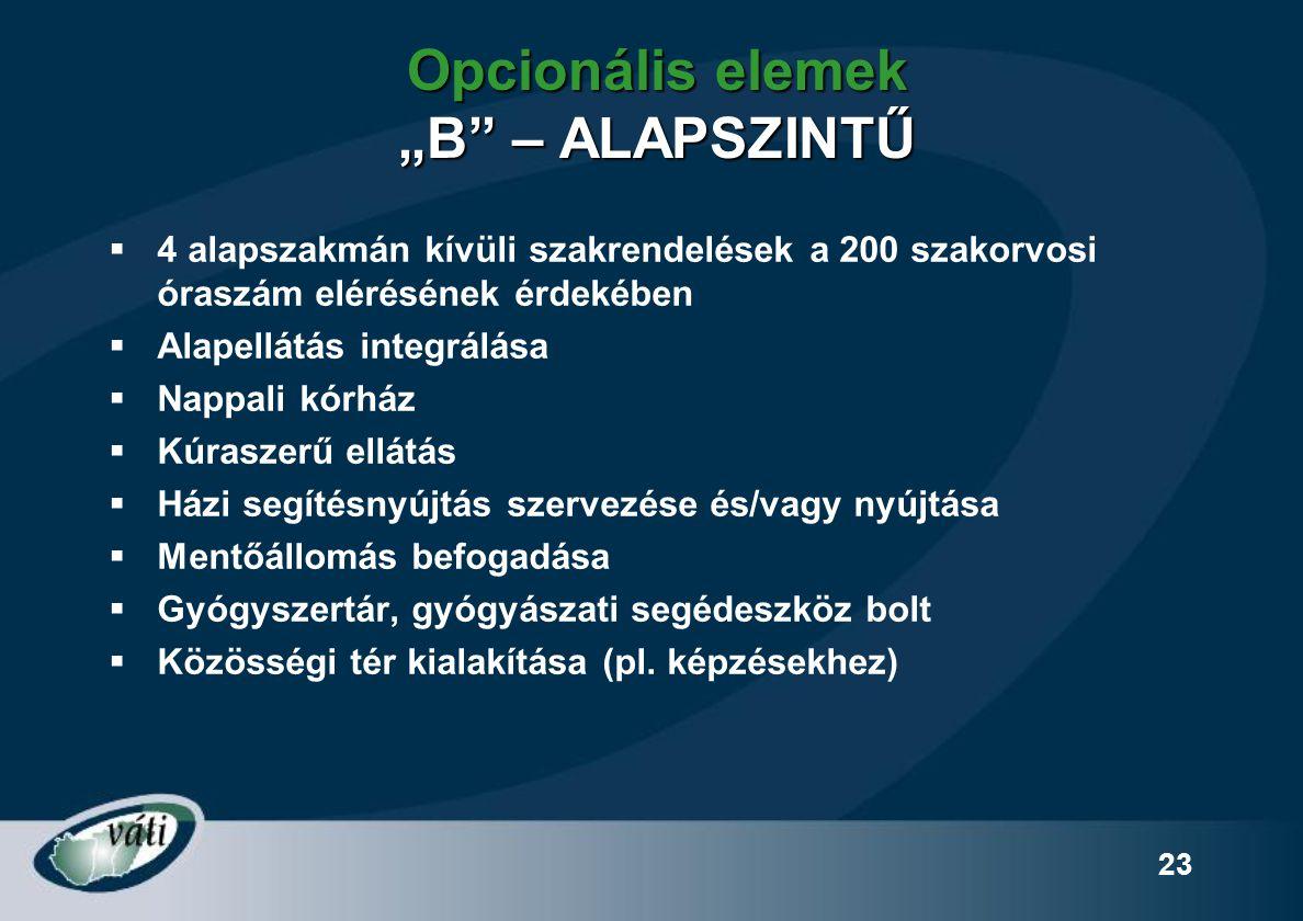 """Opcionális elemek """"B – ALAPSZINTŰ"""