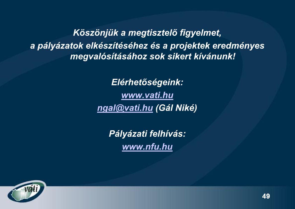 Köszönjük a megtisztelő figyelmet, ngal@vati.hu (Gál Niké)