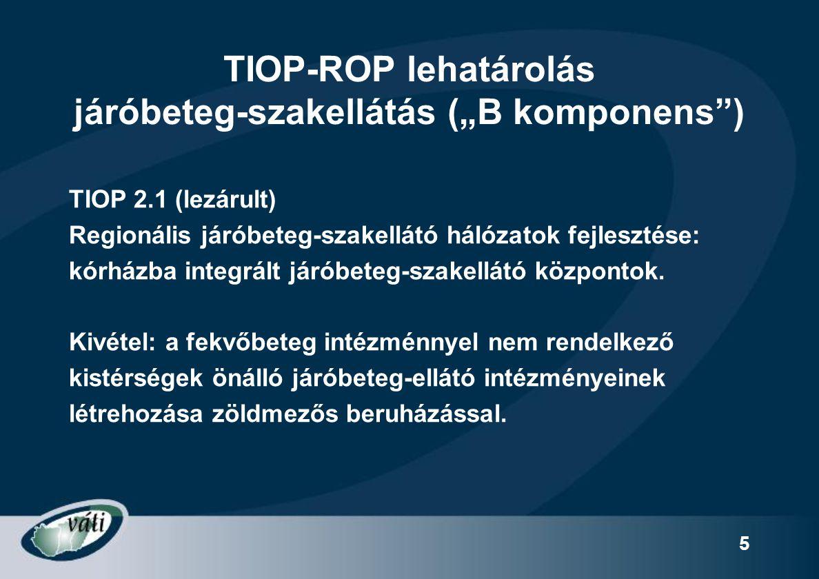 """TIOP-ROP lehatárolás járóbeteg-szakellátás (""""B komponens )"""
