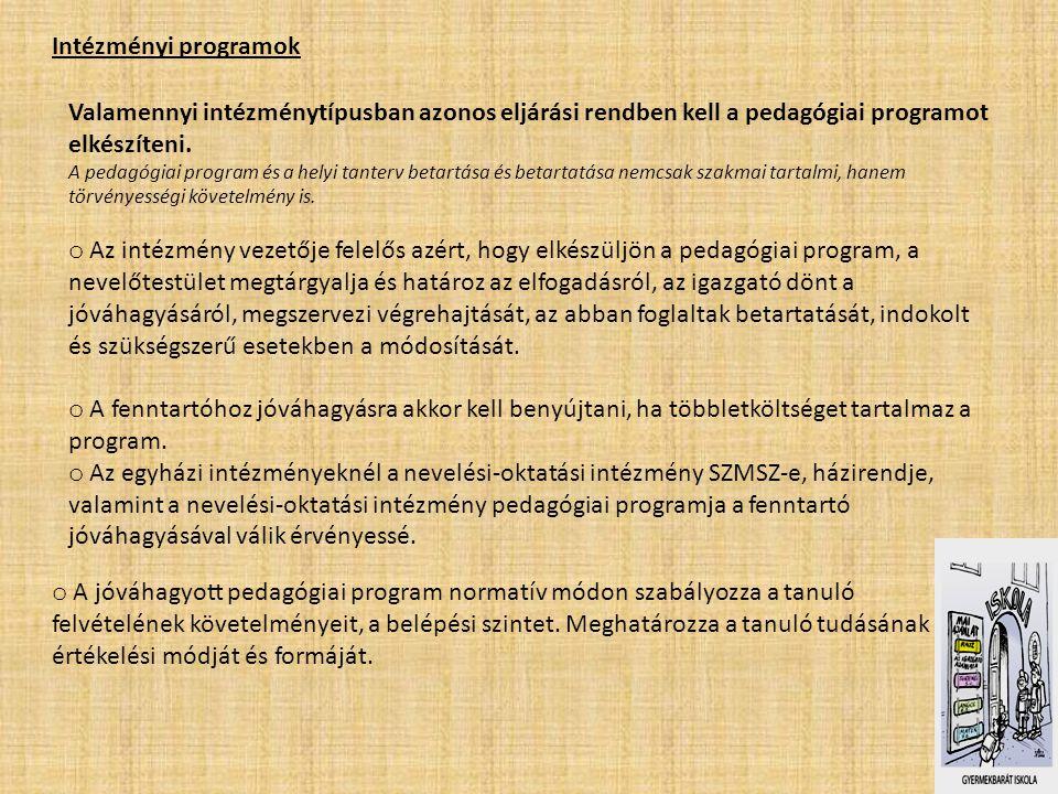 Intézményi programok Valamennyi intézménytípusban azonos eljárási rendben kell a pedagógiai programot elkészíteni.