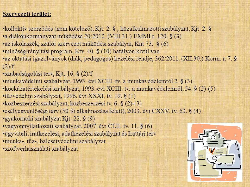 Szervezeti terület: kollektív szerződés (nem kötelező), Kjt. 2. § , közalkalmazotti szabályzat, Kjt. 2. §