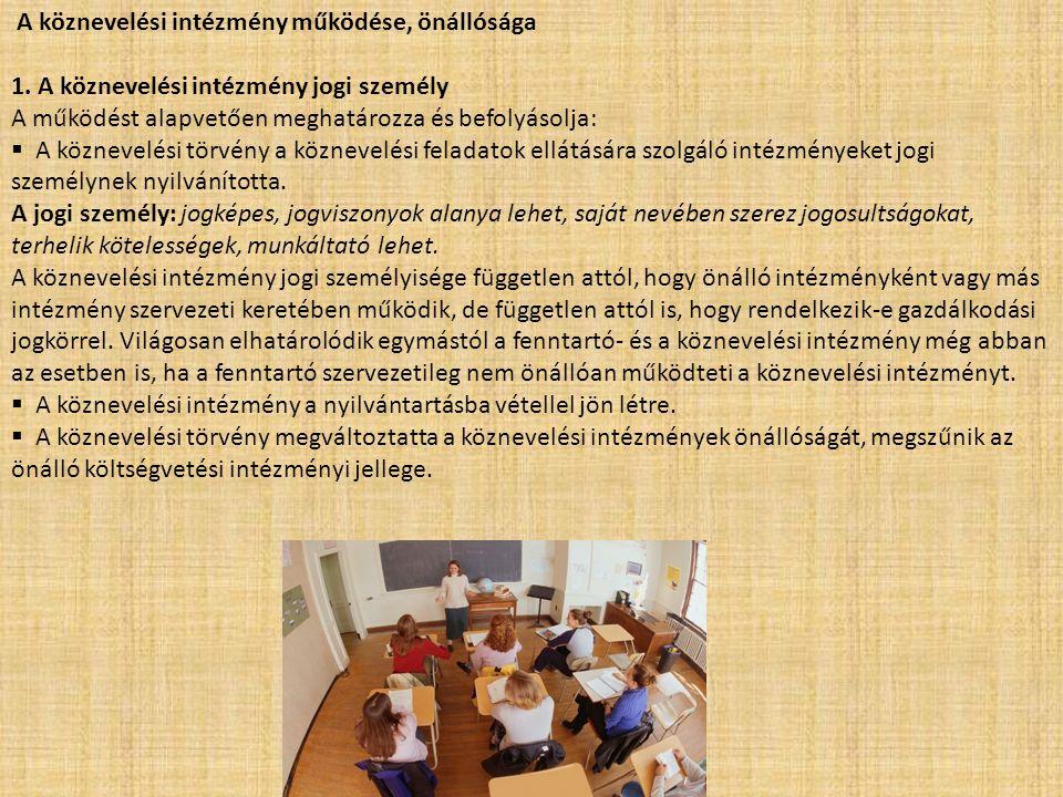 A köznevelési intézmény működése, önállósága