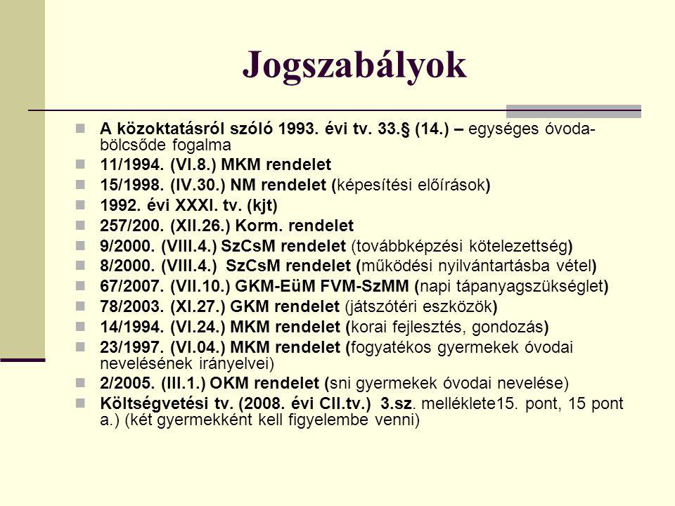 Jogszabályok A közoktatásról szóló 1993. évi tv. 33.§ (14.) – egységes óvoda-bölcsőde fogalma. 11/1994. (VI.8.) MKM rendelet.