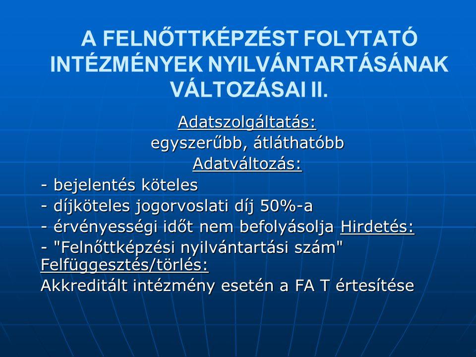 A FELNŐTTKÉPZÉST FOLYTATÓ INTÉZMÉNYEK NYILVÁNTARTÁSÁNAK VÁLTOZÁSAI II.