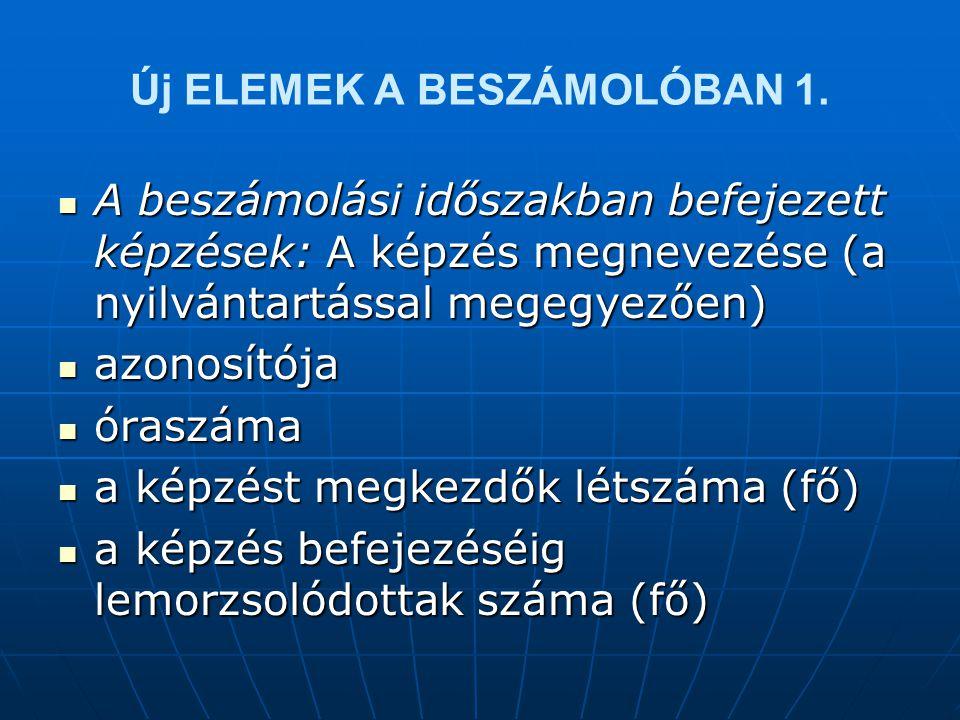 Új ELEMEK A BESZÁMOLÓBAN 1.