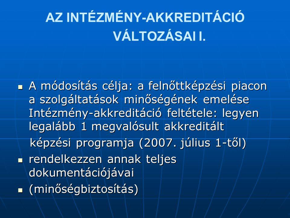 AZ INTÉZMÉNY-AKKREDITÁCIÓ VÁLTOZÁSAl I.