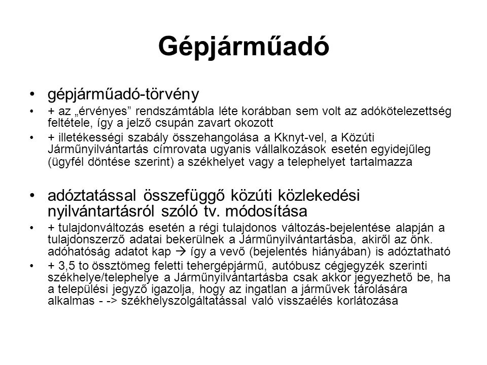 Gépjárműadó gépjárműadó-törvény
