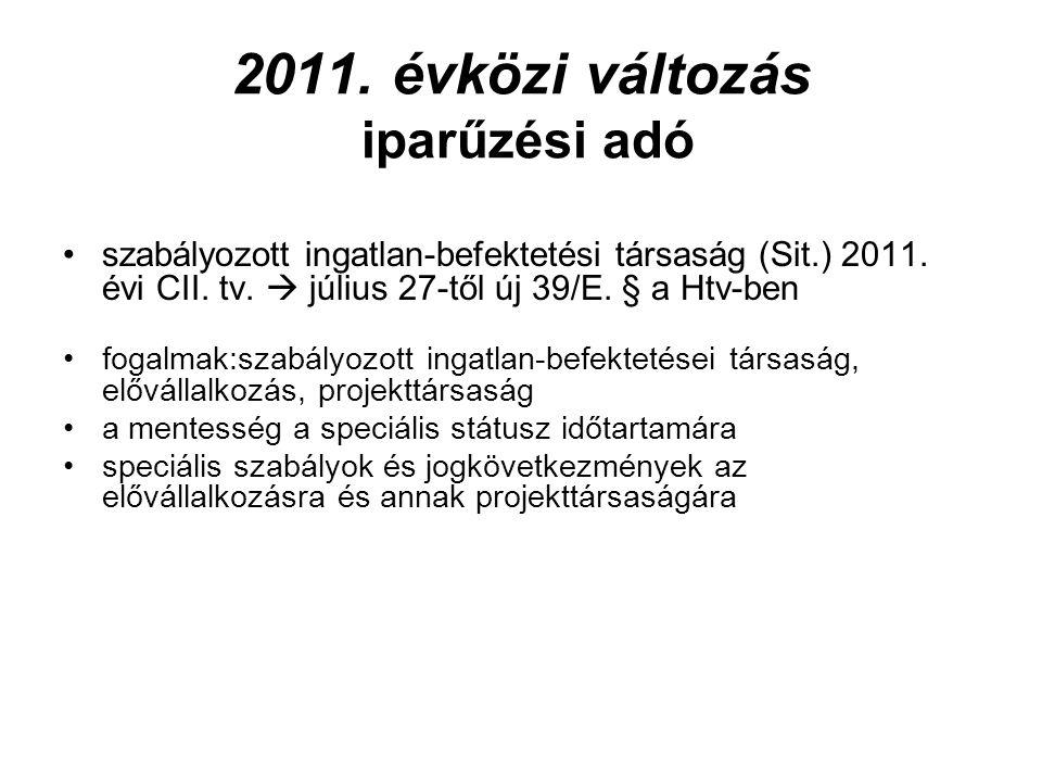 2011. évközi változás iparűzési adó