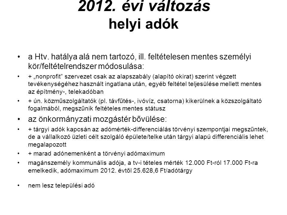 2012. évi változás helyi adók