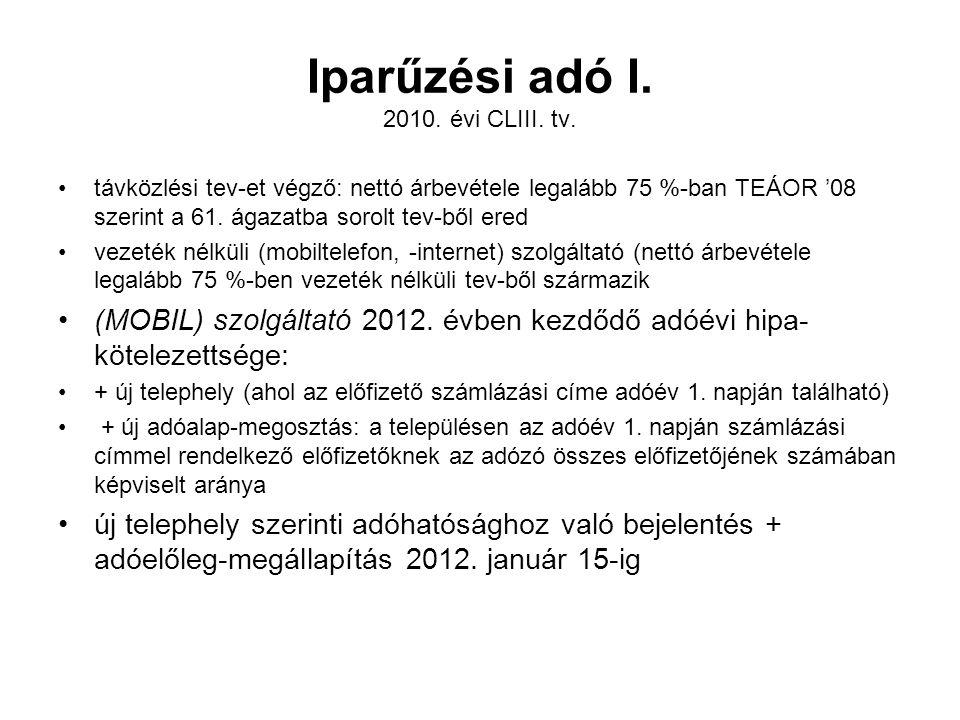 Iparűzési adó I. 2010. évi CLIII. tv.