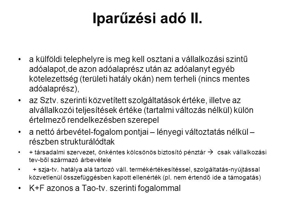 Iparűzési adó II.