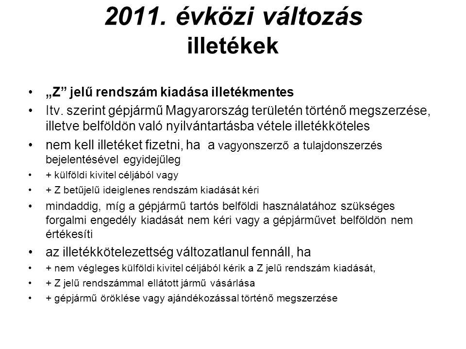 2011. évközi változás illetékek