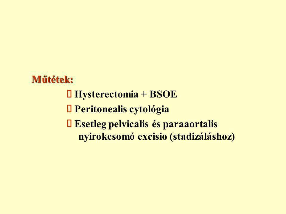 Műtétek: ä Hysterectomia + BSOE. ä Peritonealis cytológia.