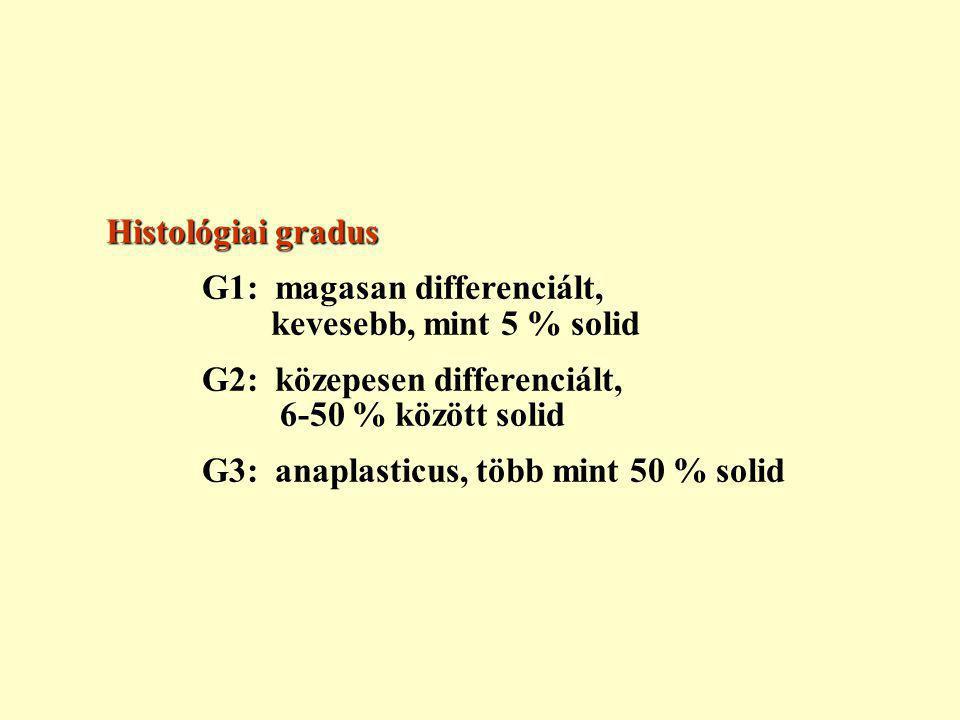 Histológiai gradus G1: magasan differenciált, kevesebb, mint 5 % solid. G2: közepesen differenciált, 6-50 % között solid.