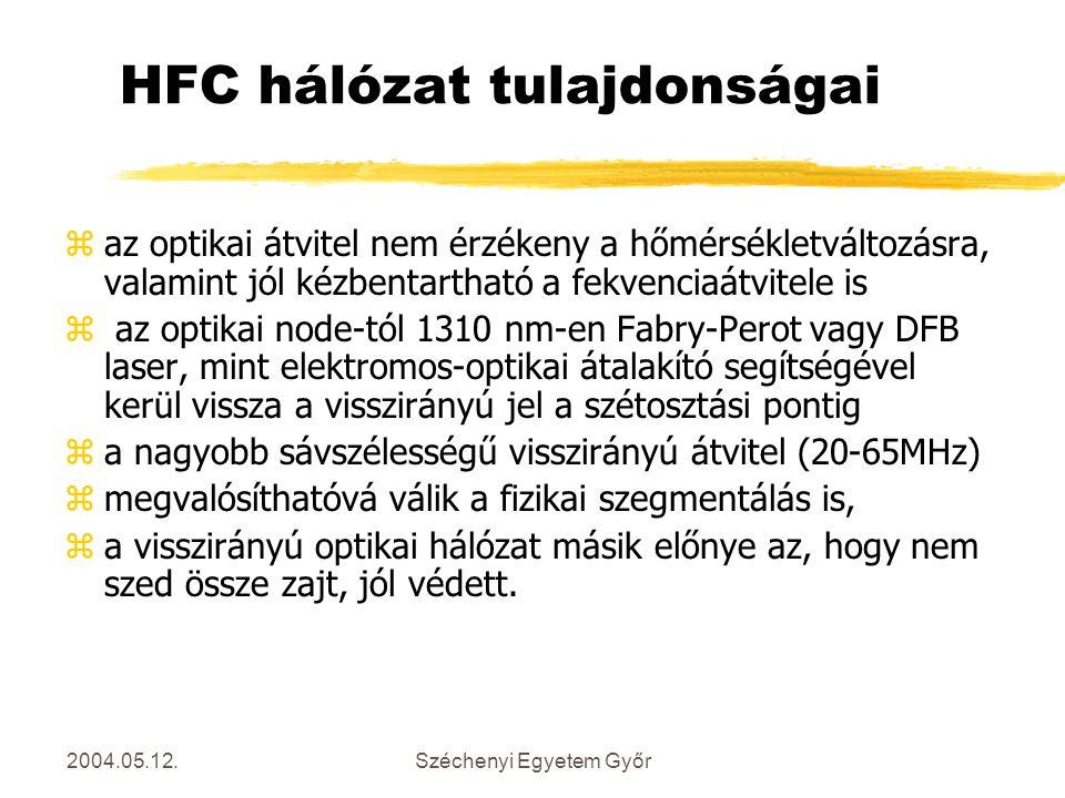 HFC hálózat tulajdonságai