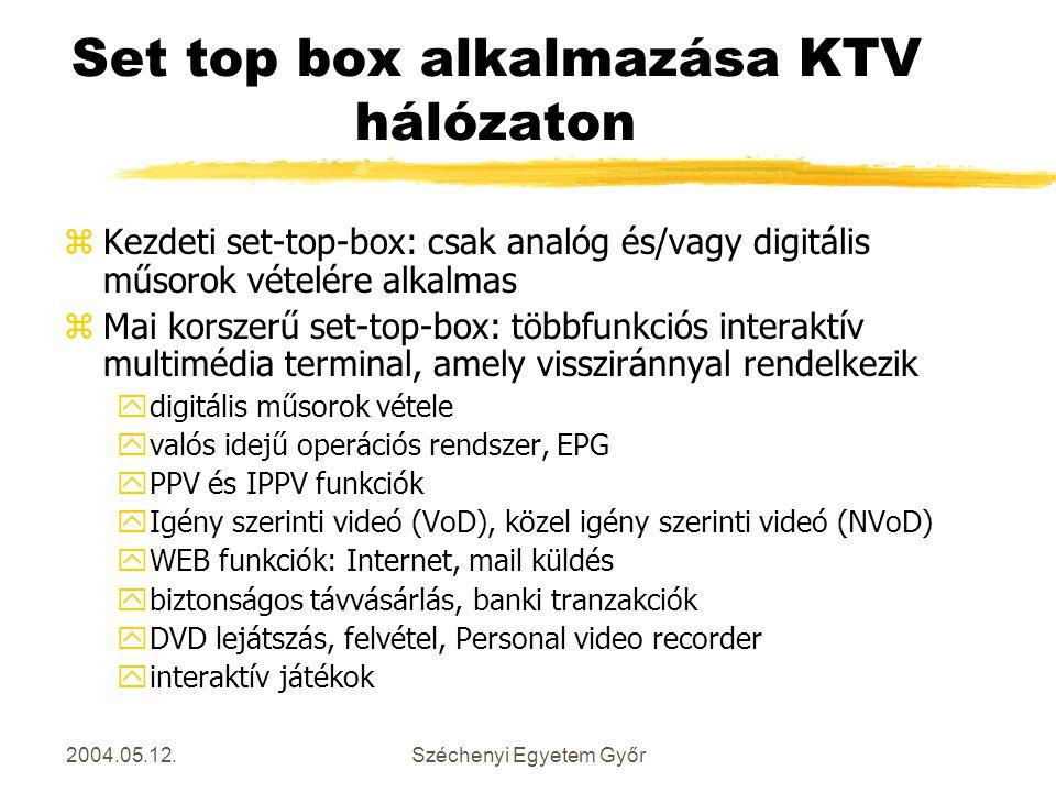 Set top box alkalmazása KTV hálózaton