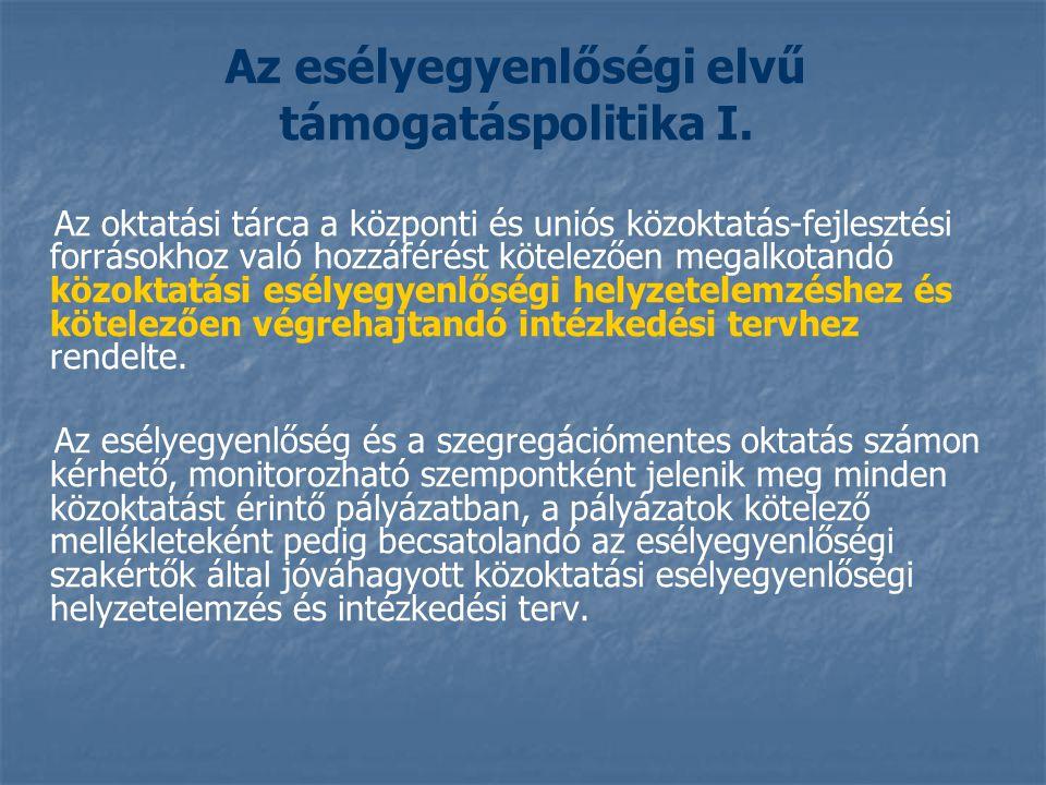 Az esélyegyenlőségi elvű támogatáspolitika I.