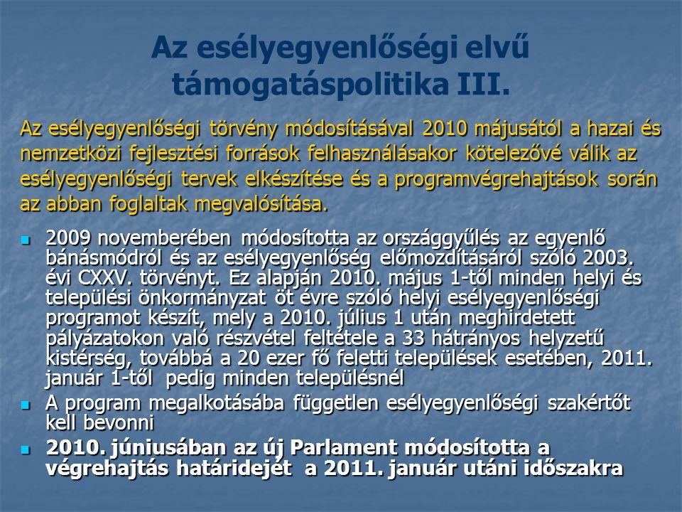 Az esélyegyenlőségi elvű támogatáspolitika III.