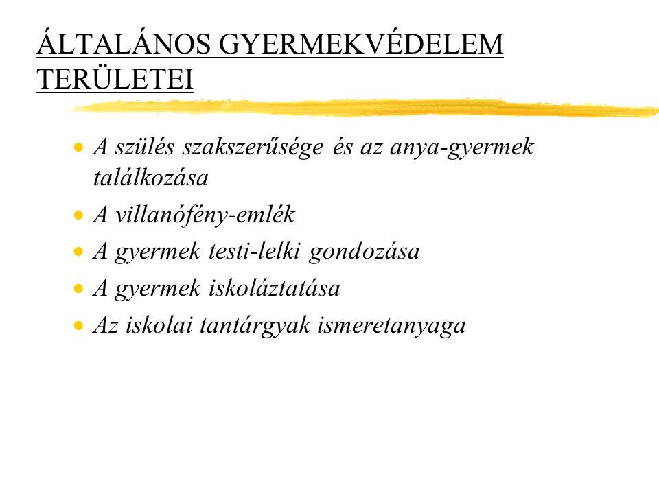 ÁLTALÁNOS GYERMEKVÉDELEM TERÜLETEI