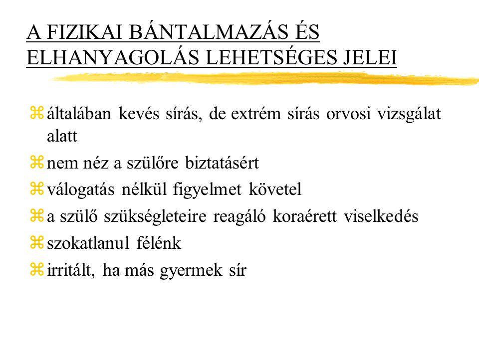 A FIZIKAI BÁNTALMAZÁS ÉS ELHANYAGOLÁS LEHETSÉGES JELEI