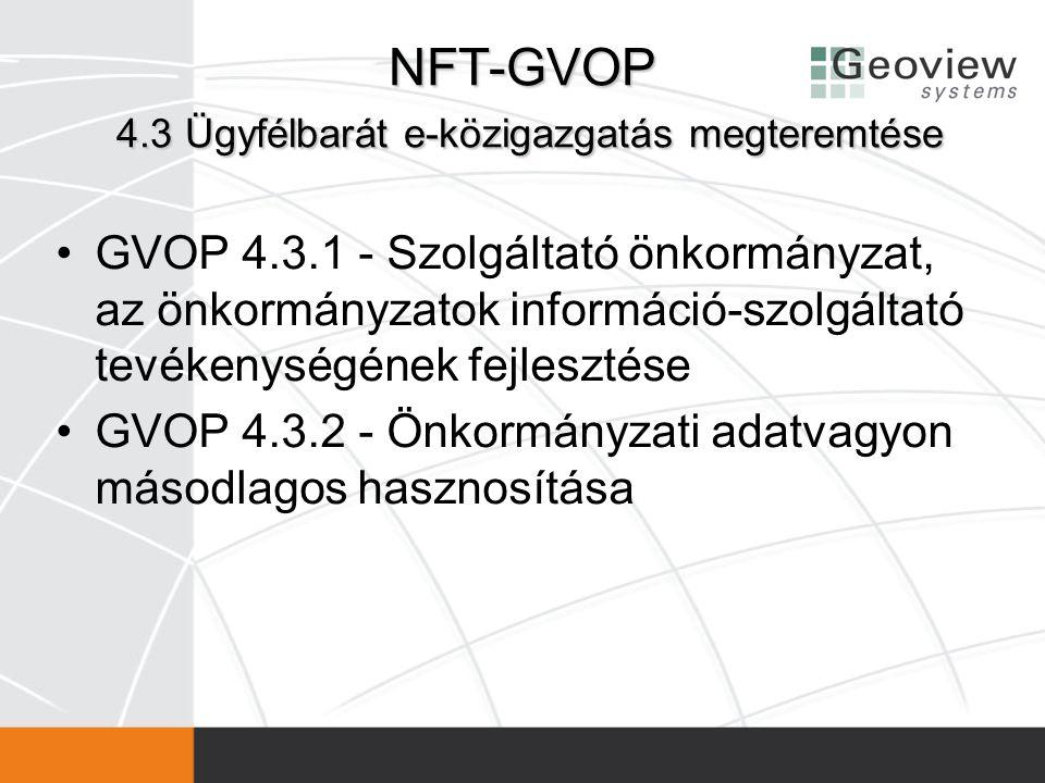 NFT-GVOP 4.3 Ügyfélbarát e-közigazgatás megteremtése