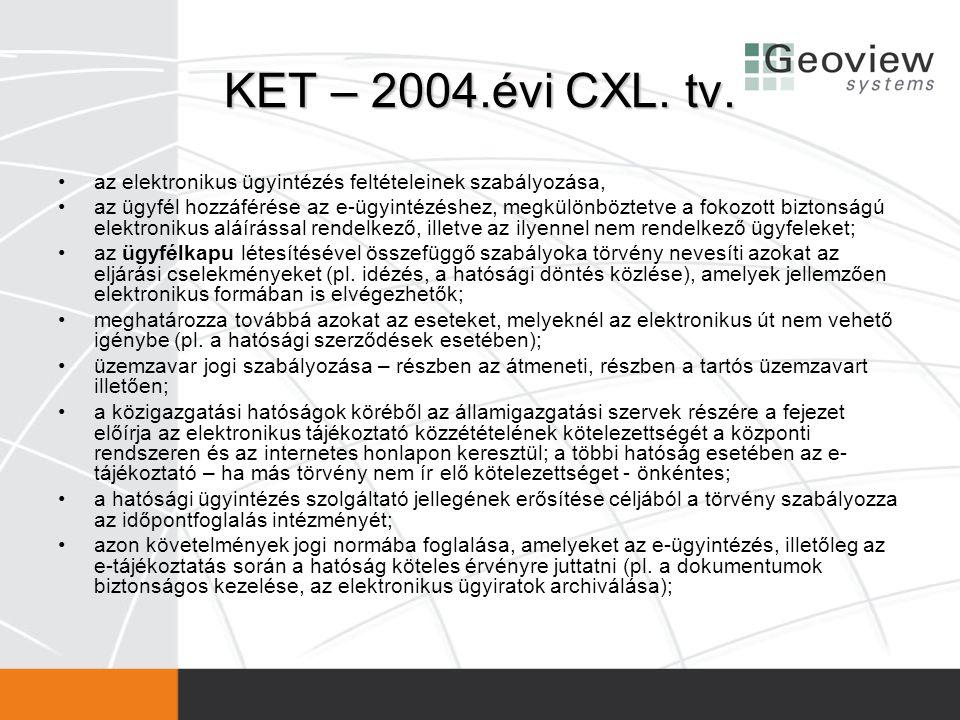 KET – 2004.évi CXL. tv. az elektronikus ügyintézés feltételeinek szabályozása,