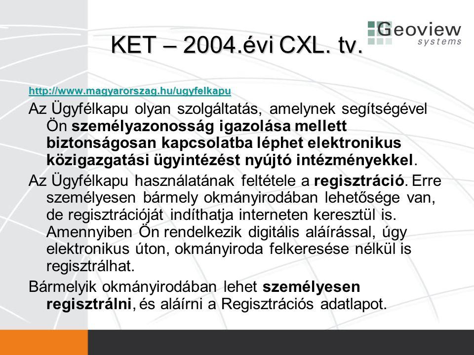 KET – 2004.évi CXL. tv. http://www.magyarorszag.hu/ugyfelkapu.