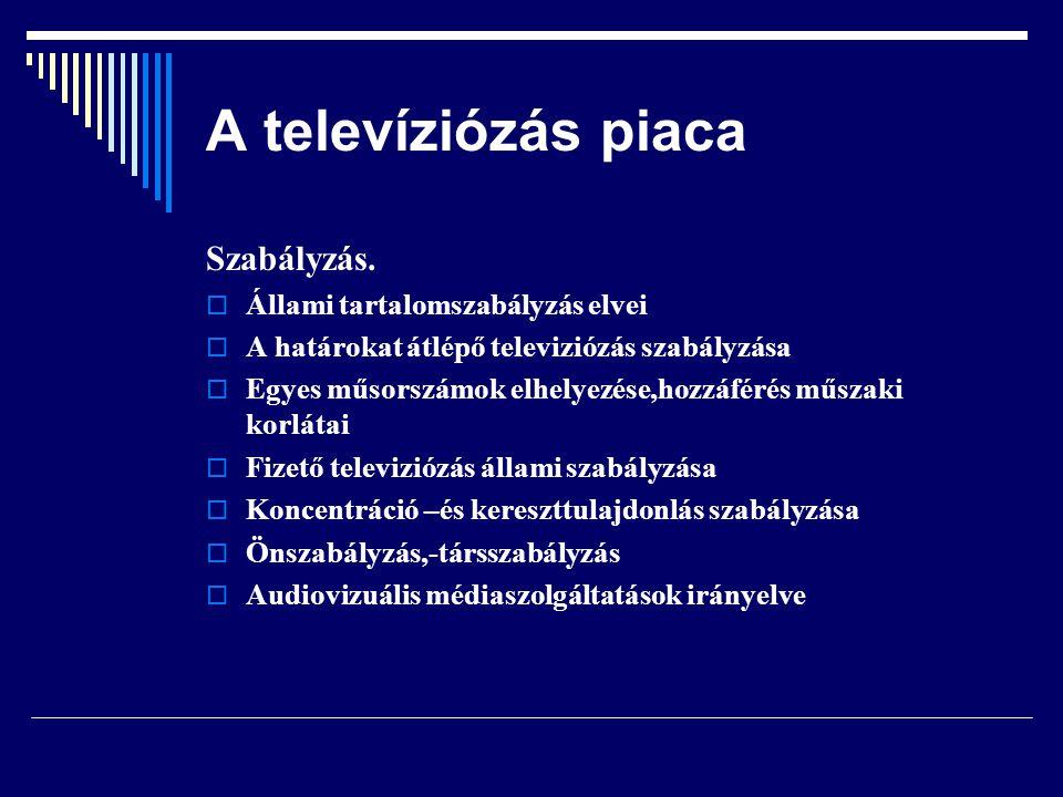 A televíziózás piaca Szabályzás. Állami tartalomszabályzás elvei