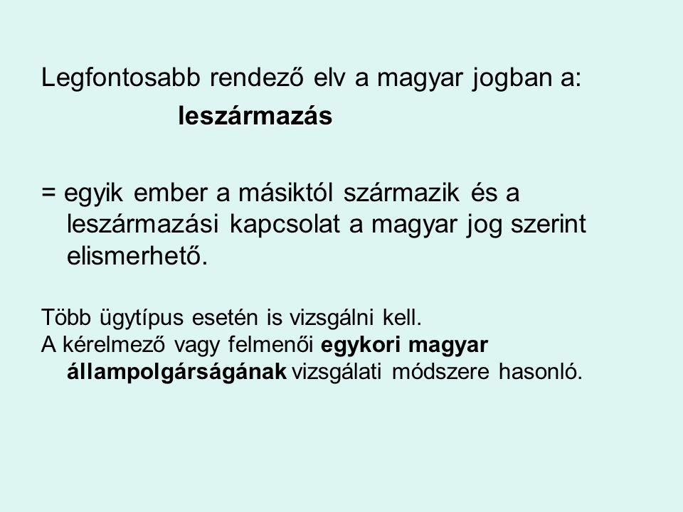 Legfontosabb rendező elv a magyar jogban a: leszármazás