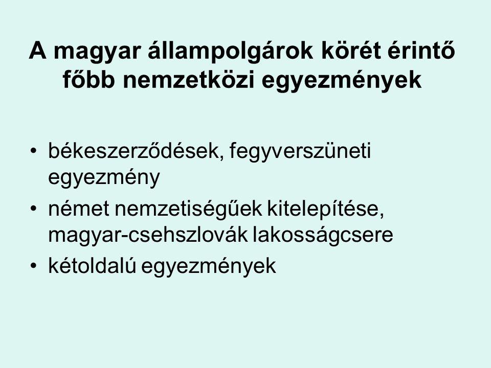 A magyar állampolgárok körét érintő főbb nemzetközi egyezmények