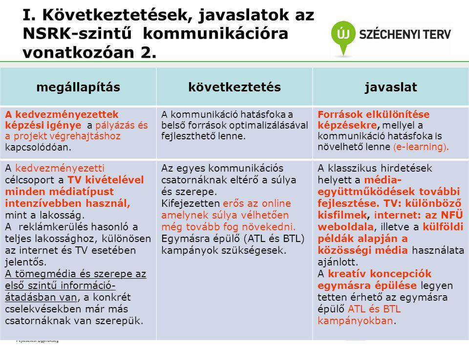 I. Következtetések, javaslatok az NSRK-szintű kommunikációra vonatkozóan 2.