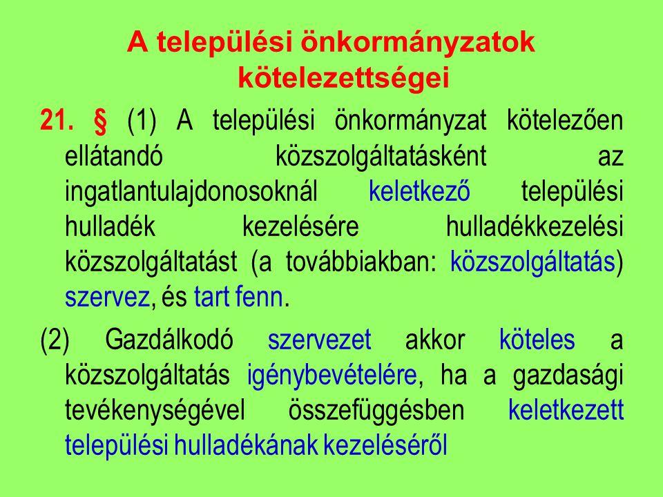 A települési önkormányzatok kötelezettségei 21