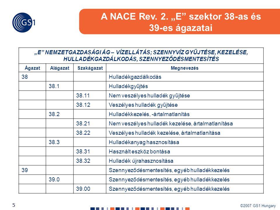 """A NACE Rev. 2. """"E szektor 38-as és"""