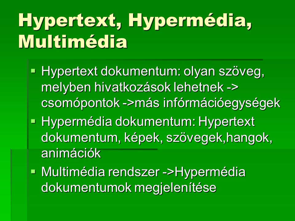 Hypertext, Hypermédia, Multimédia