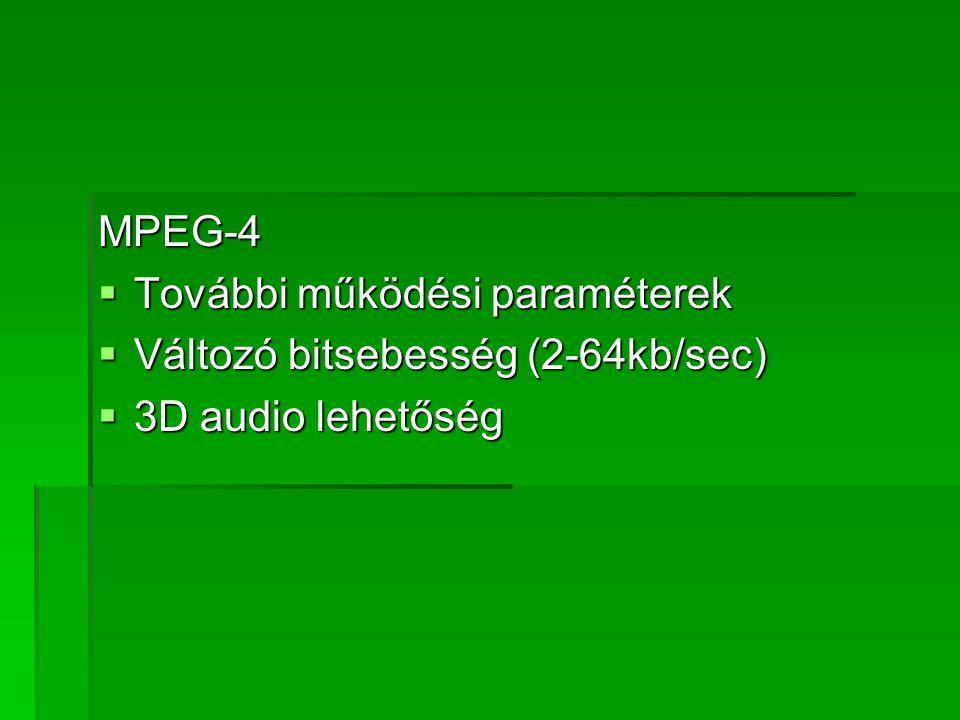 MPEG-4 További működési paraméterek Változó bitsebesség (2-64kb/sec) 3D audio lehetőség