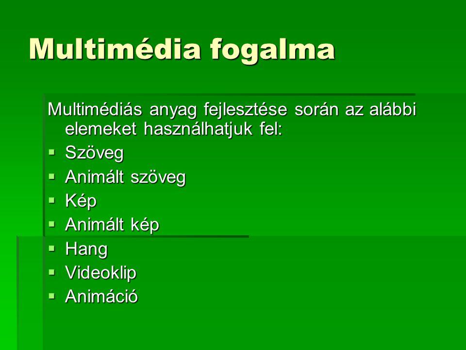 Multimédia fogalma Multimédiás anyag fejlesztése során az alábbi elemeket használhatjuk fel: Szöveg.