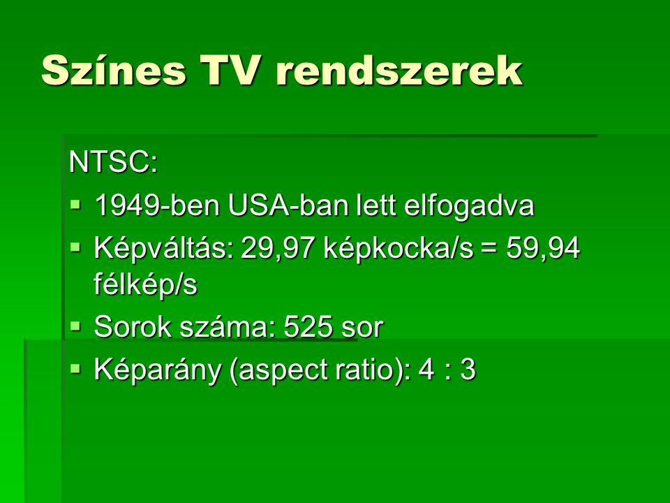 Színes TV rendszerek NTSC: 1949-ben USA-ban lett elfogadva