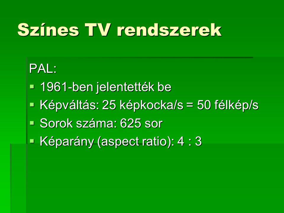 Színes TV rendszerek PAL: 1961-ben jelentették be