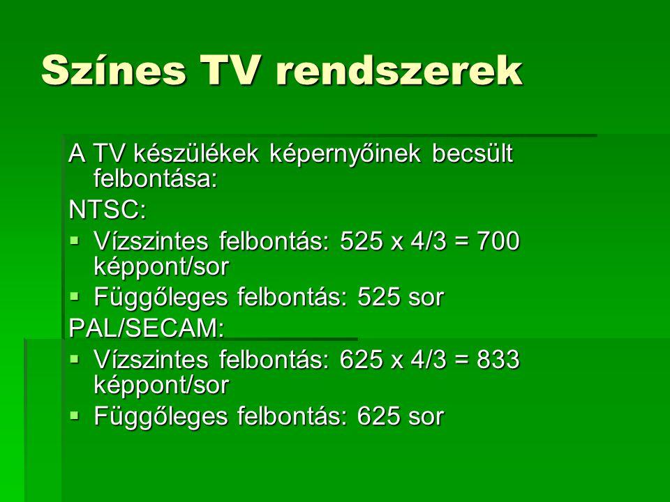 Színes TV rendszerek A TV készülékek képernyőinek becsült felbontása: