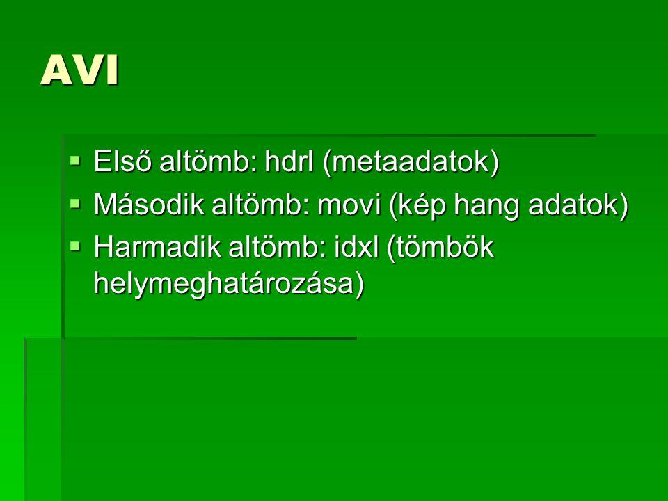 AVI Első altömb: hdrl (metaadatok)