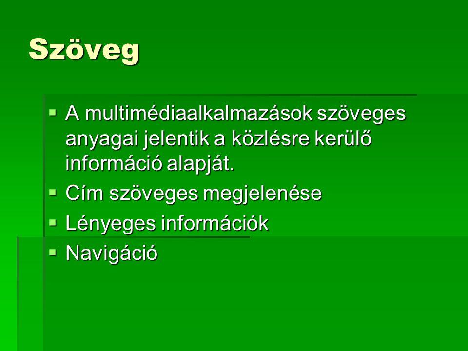 Szöveg A multimédiaalkalmazások szöveges anyagai jelentik a közlésre kerülő információ alapját. Cím szöveges megjelenése.