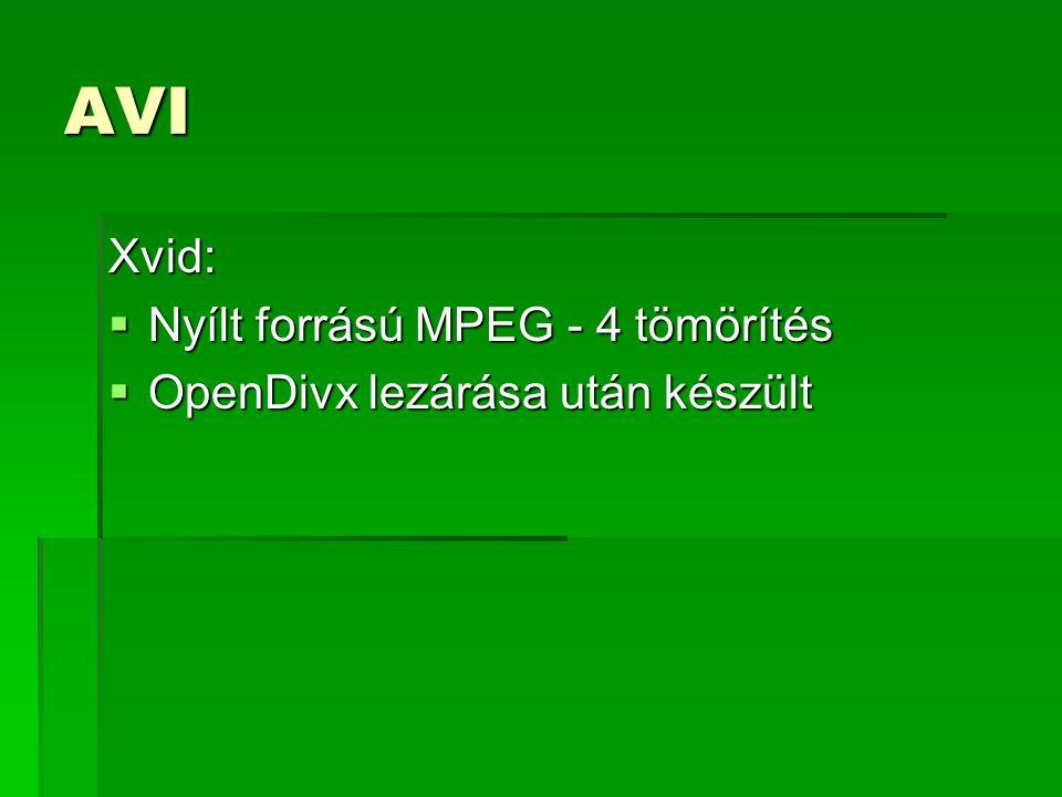 AVI Xvid: Nyílt forrású MPEG - 4 tömörítés