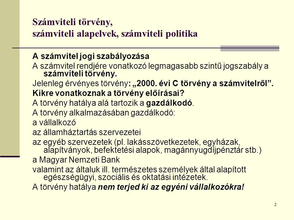 Számviteli törvény, számviteli alapelvek, számviteli politika